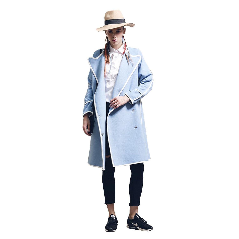 KE Frauen elegantes Herbst-Winter Zweireiher Wollmantel Süßigkeit färbt Lose Overcoat Jacket günstig online kaufen