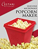 Microwave Popcorn Popper - No Oil Needed - 1 Quart Silicone Microwave Popcorn Maker - Red, by Cestari Kitchen