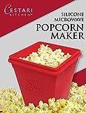 Microwave Popcorn Popper - 1 Quart, Red Micro Popcorn Maker by Cestari Kitchen - No Oil Needed