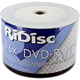 Ridisc White FULL Face Printable 16x DVD-R 50 Pack DVDR
