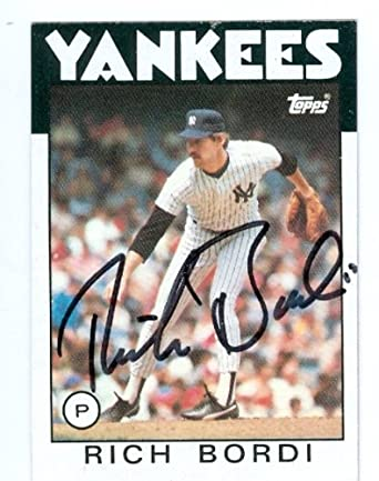Rich Bordi Autographed/Hand Signed Baseball Card (1986