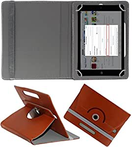 DressMyPhone Premium 360° Smart Leather Rotating Book Cover For Micromax Canvas Tab P680 (Stand Cover Holder) - Brown