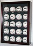 20 Baseball Display Case Cabinet, with 98% UV protection. with Lock and Keys - CHERRY Finish (B20-CH)