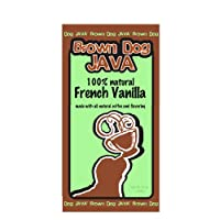 Brown Dog Java's French Vanilla flavored ground coffee, flavored with 100% natural flavors, 12 oz package
