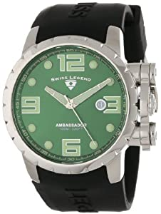 Swiss Legend Men's 30021-08 Ambassador Green Dial Black Silicone Watch