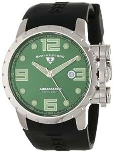 Swiss Legend Men's 30021-08 Ambassador Green Dial Black Silicone Watch