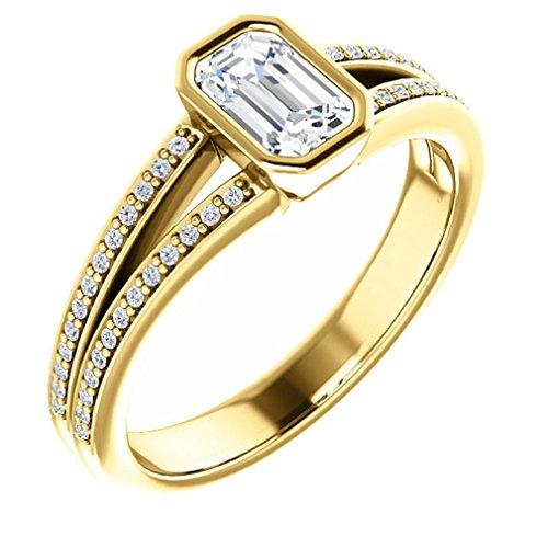 18K Yellow Gold Emerald Cut Diamond Split-Shank Engagement Ring - 0.66 Ct.
