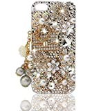 Glamour Series 3D Bling Crystal iPhone Case for iPhone 5 - Floral Coco Bag