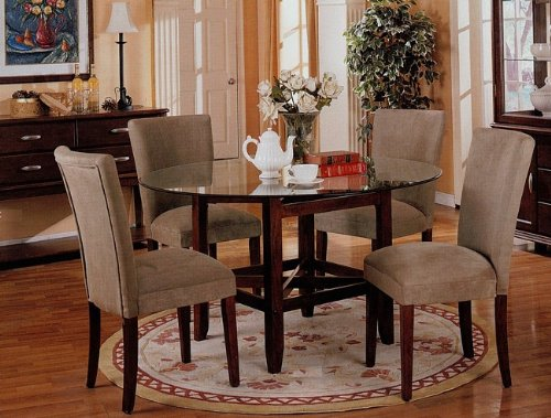 Cheap 5pc Round Dining Table w/Glass Top & Taupe Parson Chairs Set (VF_dinset-3655-3652)