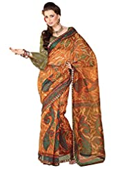Anvi Creations Supernet Cotton Printed Green Saree (Green_Free Size) - B00TO861OI