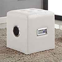 ACME Furniture Laila Sound Lounge Bluetooth Speaker Ottoman (White)