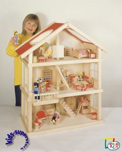 Chalet Puppenhaus Plantoys Holz Puppenstube ~ Puppenstube, 3 Etagen Puppenhaus aus Holz, komplett mit Möbeln für 4
