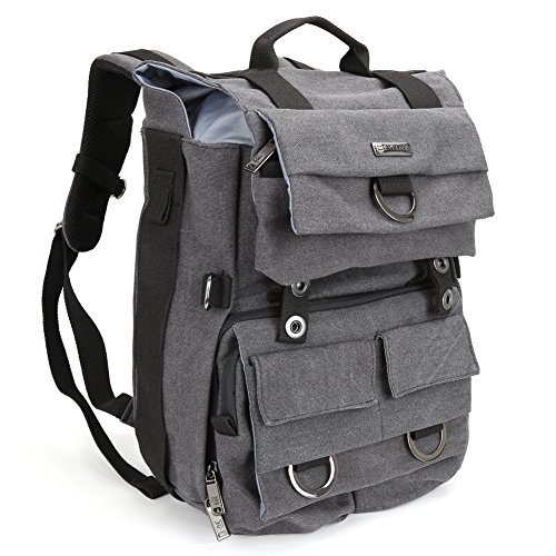 Camera-Backpack-Evecase-Canvas-DSLR-Travel-Camera-Backpack-wLaptop-Compartment-Rain-Cover-Gray