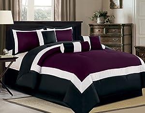 7 Piece Oversize Purple / Black / White Color Block