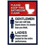 (13x19) Clean Bathrooms Ladies Gentlemen Sign Art Print Poster