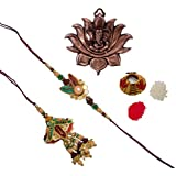 ECraftIndia Designer Bhaiya Bhabhi Rakhi Set With Metal Wall Hanging Of Lord Ganesha On Lotus And Roli Tikka Matki