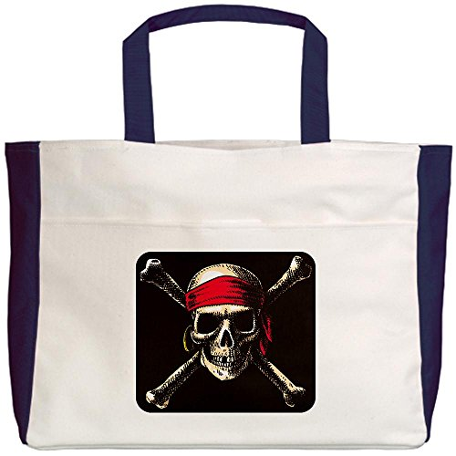 Royal Lion Beach Tote (2-Sided) Pirate Skull Crossbones