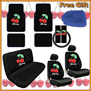 16pc RED WILD CHERRY Auto Car Truck Interior Gift Set - Seat Covers & Floor Mats Set includes 2 Front Bucket - Bench - Steering Wheel - Seat Belt Pads - 4pc RED WILD CHERRY Black Premium Carpet Floor Mats & Bonus Detailing WashMitt
