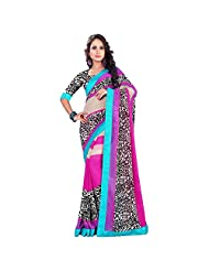 Agarwaal Creation Printed Red Color With Skirt Border Saree For Women