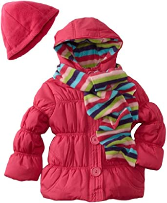 Pink Platinum Girls 2-6X Stripe Jacket, Fuschia, 5/6