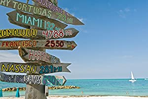 Signpost on Beach in Key West Florida Wall Decal Mural - 24 Inches W x 16 Inches H - Peel and Stick Removable Graphic
