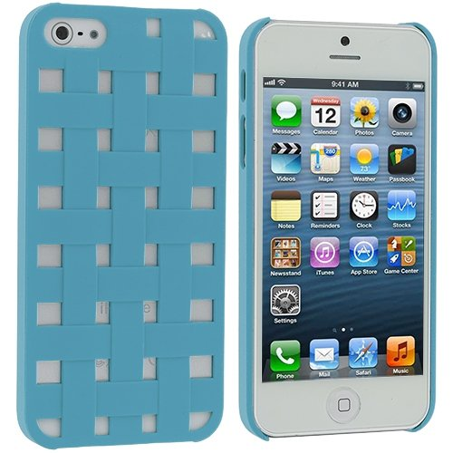 Cell Accessories For Less (Tm) Baby Blue Handwoven Hard Rubberized Back Cover Case For Apple Iphone 5 / 5S // Free Shipping By Thetargetbuys front-988159