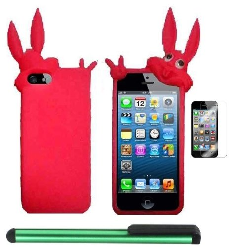 #1  Hot Pink Rabbit Silicone Skin Premium Design Protector Soft Cover Case Compatible for Apple Iphone 5 (AT&T, VERIZON, SPRINT) + Screen Protector Film + Combination 1 of New Metal Stylus Touch Screen Pen (4