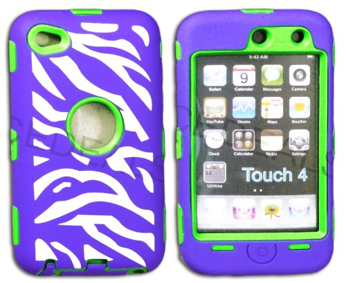 """Mylife Purple + Lime Green Zebra Stripes Hybrid Survivor (Built In Screen Protector) Case For Ipod 4/4S (4G) 4Th Generation Itouch (Durable Body Armor Defender Glove + Soft Flexible Shockproof External Gel + Hard Internal 2 Piece Snap Guard) """"Attention: T"""