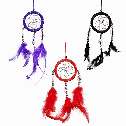 Lot of 3 Mini Dream Catcher Pure Black Red and Purple Traditonal Native American Dreamcatcher with Feathers 2.4