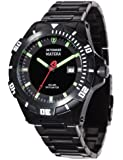 Detomaso Matera Tritium Solar Black/Green Men's Quartz Watch with Multicolour Dial Analogue Display and Black Stainless Steel Bracelet DT2044-A