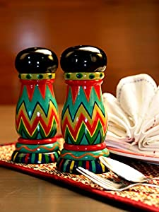Hand Painted Wooden Set of Salt & Pepper Shakers, Kitchen & Table Accessories