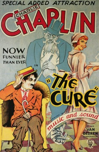 "Eric Campbell in the background, Charlie Chaplin and Edna Purviance in the foreground, from the silent film ""The Cure"""