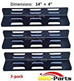 "93411(3-pack) Porcelain Steel Heat Plate Replacement for Select Gas Grill Models by BBQ Tek, Bond and Others (14"" x 4"")"