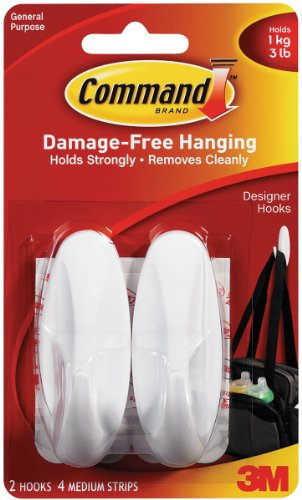 Command Medium Designer Hooks, White, 2-Hook image