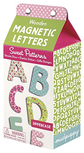 Mudpuppy Sweet Patterns Uppercase Letters Wooden Magnetic Set