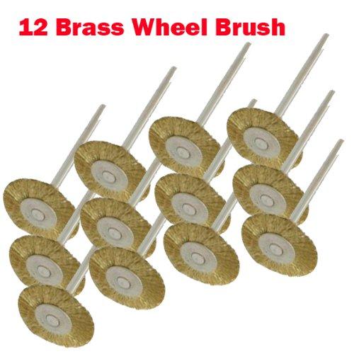 "12 Rotary Brass Wire Brush Wheel Dremel 3000 4000 8220-2/28 395 7700-1/15 4000 3/34 Chicago Electric, Milwaukeen Nextec1/8"" Shank Hobbyy Clean Polish , Craftsma"