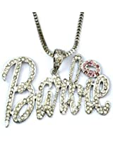 Fashuun Village Cute Celebrity Style Iced Out Nicki Minaj Barbie Pendant Necklace - Comes in a gift box