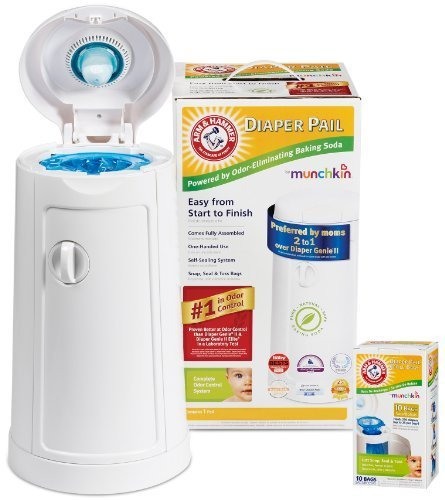Munchkin Arm & Hammer Diaper Pail withRefill Bags, 10-Count by Munchkin (English Manual)