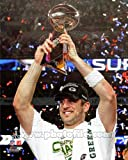Aaron Rodgers with Lombardi Trophy at Super Bowl XLV - Green Bay Packers NFL 8x10 Photo