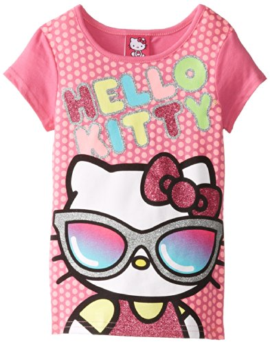 Hello Kitty Little Girls' Short Sleeve Tee Binding, Fuchsia, 5 front-1049727