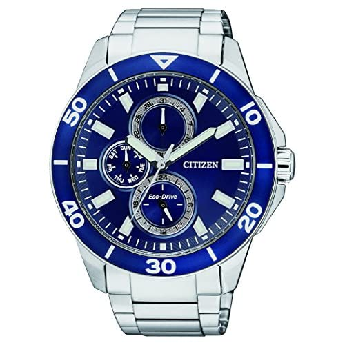Citizen Watch Men's Quartz Watch with Blue Dial Chronograph Display and Silver Stainless Steel Bracelet AP4031...