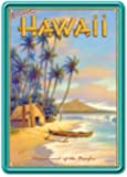 Hawaii Playground of the Pacific by Kerne Erickson - Tin Sign Postcard - Vintage Hawaiian Style