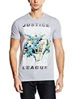 DC Comics Camiseta Manga Corta Justice League Flying (Gris)
