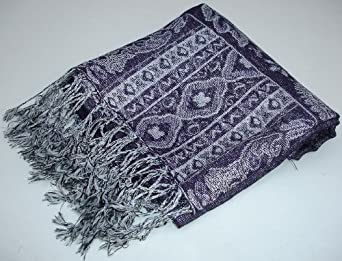Reversible/double sided Jamawar Pashmina shawl wrap with sparkly glitter thread. Beautiful paisley & floral unique designs, dark purple
