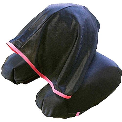 寝顔を見せずにぐっすり眠れる 安眠 フード付き ネックピロー 日本製  ブラック×ピンク