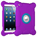 Masione® Kids Fun Play Armor Defender Soft Silicone Back Case Cover Shock Proof Protective Case Snap Case for Ipad Mini & Ipad Mini with Retina Display 7.9 Inch Tablet (Purple)
