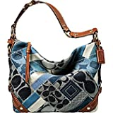 Coach Carly Patchwork Signature Hobo Handbag Denim Leather Indigo Blue 12215