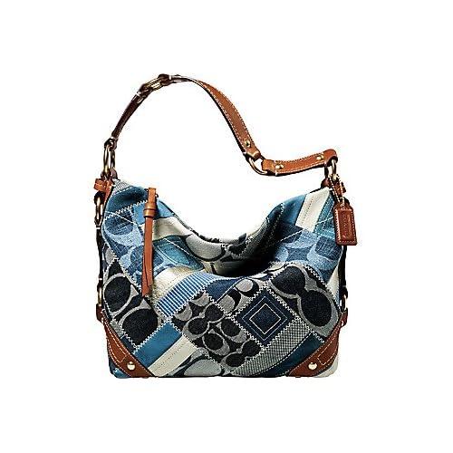Coach Carly Patchwork Signature Hobo Handbag Denim Leather Indigo Blue