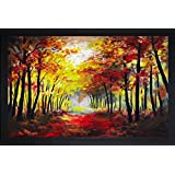 SAF 'Landscape' Painting (Synthetic, 35 Cm X 3 Cm X 50 Cm, Black)