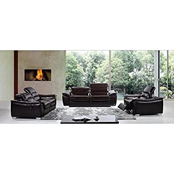 VIG- E9034 Divani Casa Modern Brown Italian Leather Sofa Set With Recliners